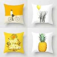 1 pz Cartoon Cushion Cover Family Stampa Pillow Case Poliestere Cotone in poliestere 45 * 45 cm Throw Pillow Cover Decorazione per Home Office 20201
