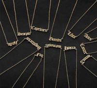 Letra personalizada Collar de zodiaco Collares Constelación Custom Innoxidable Steel Old Inglés Collar Cumpleaños Regalos Regalos