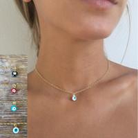 Mode Mini Evil Eye Halskette Waterdrop Anhänger Halsketten Gold Silber Überzogene Kette Frauen Mädchen Mode Fine Schmuck