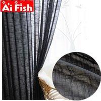 Cortina cortina moderna de algodão preto linho semi-sombreamento varanda divisória espessa fundo puro cor cortinas para sala de estar wp342 # 3