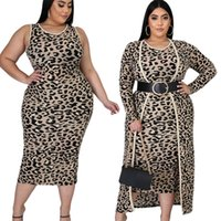 Fashion Women Leopard Two Pieces Sets for Party Autumn Winter Long Sleeves Cardigan and Bodycon Dress Mid Calf Lady Casual Outfits 2020