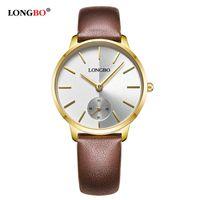 Longbo الفاخرة 2021 الأعلى الكوارتز ساعة عارضة أزياء جلدية حزام الساعات الرجال النساء زوجين ووتش الرياضة النظير ساعة اليد هدية 80286