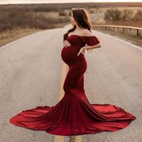Shoulderless Maternity Dresses Pography Long Pregnancy Dress...