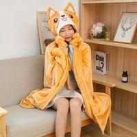 Winter New Corgi Dog Cloak Flannel Blanket Children Blanket Party Props Rabbit Dinosaur Animal Cloak Girl Gift Christmas Gift