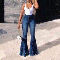 Dames Lente Elastische Plus Losse Denim Pocket Button Casual Boot Cut Broek Jeans Dames Straight Line Button Flare Jeans 10.16
