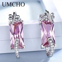 UMCHO puro dom 925 prata esterlina queda-de-rosa Brincos Feminino CZ Dangle Brincos para Mulheres Jóias Natal casamento romântico