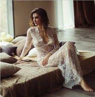 Schwarzweiß Sehen Sie durch Blumenspitze Lange Meerjungfrau Nightgown Vintage Brautwäsche Sexy Hochzeit Nacht Unterwäsche Erotische Nachtwäsche
