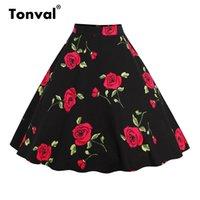 Tonval Floral Vintage Plus Size Swing Rock Retro Blumen Print Midi Röcke Womens Hohe Taille Baumwolle Eine Zeilenrock Y200704