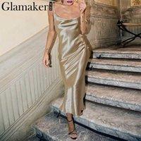 Abiti da festa Glamaker Glod Luxury Shinne Seta Sexy Dress Sexy Donne Backless Satin Lace Up Lungo Elegante Elegante Serale Club Inverno 20211