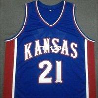 Idade homens Joel Embiid # 21 Kansas Jayhawks Azul Branco Colégio Jersey Tamanho S-4XL ou Personalizado Qualquer nome ou Número Jersey