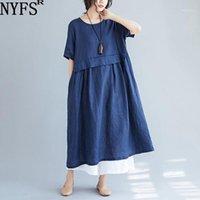 Günlük Elbiseler NYFS Yaz Elbise 2021 Zarif Gevşek O-Boyun Pamuk Keten Kadınlar Katı Renk Uzun Vestidos Robe1