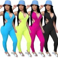 Festen Jumpsuits für Frauen Sexy Sommer höhlen heraus schwarzen Overall Ärmel Zipper mit V-Ausschnitt, kurzen Overall für Frauen Sexy S-2XL