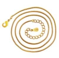S925 Sterling Silver Chains Banhado 18K Caixa Banhada A Ouro Caixa Cruzada Corrente DIY Colar de Jóias 40cm + 4cm 1mm Atacado