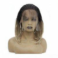 Kurzer Stil synthetische Geflochtene Spitze-Front-Perücke mit Baby-Haare Schwarz Ombre Blonder Hitzebeständige Faser-Haar-Perücken für schwarze Frauen