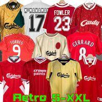 Liverpool 04 05 Retro Jersey Gerard 1982 Fowler Dalglish Camisas de futebol Torres 1989 Maillot 06 07 Barnes 08 09 Rush 97 95 96 93 McManaman 85