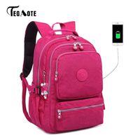 Genç kızlar mochila Seyahat Q1104 için Tegaote Kadınlar Sırt Anti Theft USB Şarj Sırt Çantası Erkek Laptop Bagpack Okul Çantaları