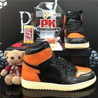 Top Quality Jumpman 1 1S Satin Black Toe No Para Reventa Hombres Mujeres Zapatos de baloncesto BRED TOE OBSIDIANO UND BLANCO BLANCO MESA DE Zapatillas deportivas