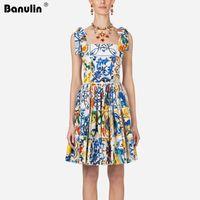 Pist Kadın Yaz Elbise Yay Spagetti Kayışı Backless Mavi ve Beyaz Porselen Çiçek Baskı Mini Elbise Vestido Mujer Verano1