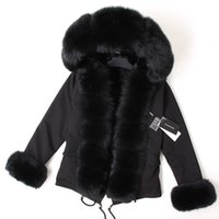 Maomaokong Black Fox Cuello de piel abrigo de invierno chaqueta de mujer chaqueta natural chaqueta forrada abrigos 210203