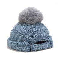 남자 여성 가을 겨울 Skullcap 캐주얼 Docker 선원 모자 무당없는 힙합 모자 pompom1와 솔리드 컬러 따뜻한 비아