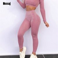 Nessaj Frauen nahtlose Leggings 14 Farben Hohe Taille Push Up Pants Hohe Taille Sportbekleidung Leggings Workout Running Sexy Leggings Y200904