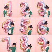 32 Pollici Big Foil Palloncino scherza il regalo decorazioni colore dell'arcobaleno Air Ballon Globos festa nuziale di compleanno 0-9 Numero Digital