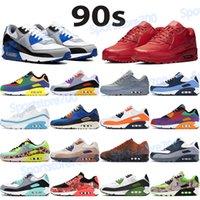NUEVO 90s Cojín zapatos hombres mujeres correr zapatillas zapatillas de deporte vela Royal Triple Rojo Lobo Gris UND LX DancerColor