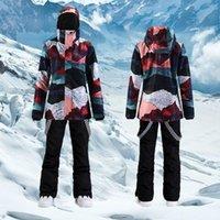 Лыжные куртки лыжный костюм Женщины зимний ветрозащитный открытый сноуборд теплый утолщенный куртка и брюки снежные спорты альпийский набор для