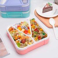 TUuth Microondas Almoço à prova de vazamento Bento caixa 3 treliça para diferentes alimentos portáteis estudantes trabalhadores salada recipiente de alimentos T200710