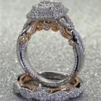 Accessorio di moda Nuova separazione di colore elettroplatante Separazione quadrata Diamond Princess Set Banchetto Anello gioielli