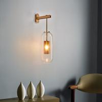 Lambalar Kapalı Amerikan Retro Duvar Işık Duvar lambası yanında İskandinav Modern Vintage LED Duvar lambası yuvarlak Cam Topu Banyo Ayna