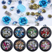 Misturado colorido Rhinestones Decorações Grânulos Nails Kits Cristal Stones Rose Forma DIY 3D Nail Art Decorações Charme Gems 1 Pcs