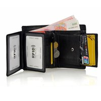 Men Genuine Leather Wallet Male Black Short Pocket Wallet for Coin Men's Real Cowhide Leather Purse with Coin Pocket