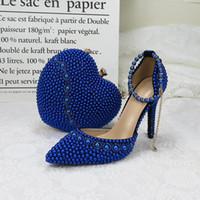 BaoYaFang 2020 nuevos llegan los zapatos de la boda con los bolsos que empareja de tacón alto zapatos de fiesta del corazón de perlas azules bolso reales y bolsas