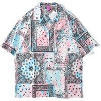 2021 جديد kiryaquy الرجال التعادل صبغ الأزرق بيزلي ويست كوست كريب الدماء الأزياء القطن عارضة قميص قميص جودة عالية جيب d25 m5s8