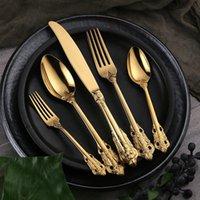 Kubac 30 pcs doré doré dîner 304 couteau à dîner en acier inoxydable et fourchette et cuillère à café de coutellerie set goutte expédition 201128