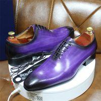 Daniel italiano para hombre vestido de cuero genuino azul púrpura oxfords bodas cortan zapatos formales completos para hombres 201215