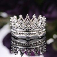 Bague de couronne d'argent 3 in1 juvéniles détachables bagues bande femme féminin bijoux cadeau et sableux