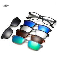 Polarize Güneş Gözlüğü Erkekler Kadınlar 5 in 1 Manyetik Klip Gözlük Üzerinde Miyopi Lensler için Spor Güneş Gözlüğü Bisiklet 1