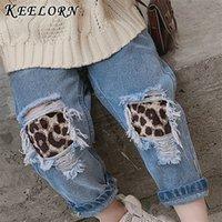 Keelorn Girls Hosen Kinder zerrissene Loch Leopard Jeans Hosen Neue Frühlingskinder Gebrochene Denim Hosen für Baby Mädchen 3-7t 201207