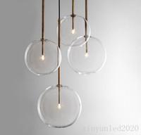 Nordic Clear Glass Pendentif Lights Globe Chrome Verre Verre Pendentif Lampe Salle à manger Cuisine Suspension Lampe Accueil Décor Light Fixture