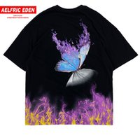 Fire Flame Butterfly Hip Hop T Shirt Streetwear Harajuku Manica corta Tees Cotton Punk Rock Oversize T Shirt 200924