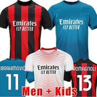 20 21 AC Jersey Milan Rossoneri Hayranları Futbol Formaları Ibrahimovic Tonali Rebic Romagnoli Çalhanoğlu Futbol Gömlek Erkekler Kid Üniformalı Polo