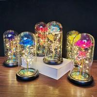 فتاة عيد الحب هدايا الذهب احباط روز الاصطناعي زهرة زهرة غطاء زجاجي مع LED ضوء مضيئة محاكاة الخالدة زهرة XD24149