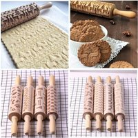 Christmas Decoration Embossing Rolling Pin Kitchen Baking To...