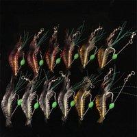 12 unids / lote clásico 9cm 6g pesca suave señuelos falsos camarones flotando suave cebo de camarones de sabrosos artificiales con gancho Fishin Jllyiq