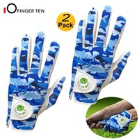 2 pcs luvas de golfe para homens com marcador de bola macio couro azul camuflagem esquerda mão direita respirável chuva aderência 201026