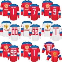 2016 Time da Copa do Mundo Rússia Men's Hockey Jerseys 9 Orlov 7 Kulikov 1 Varlamov 92 Kuzetson Wh 100% Costurado Jersey Qualquer Nome e Número