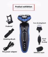 Máquina de afeitar eléctrica 4D tres cabezal de cuchillas de afeitar lavado de agua máquina de afeitar cuchillo chapa flotante de los hombres netos