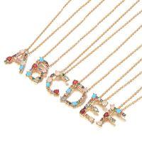 Mode 26 Buchstaben anfänglich Multicolor CZ Halskette Gold Farbe Personalisierte Buchstaben Halskette Schmuck Frauen Zubehör Freundin Geschenke 105 G2